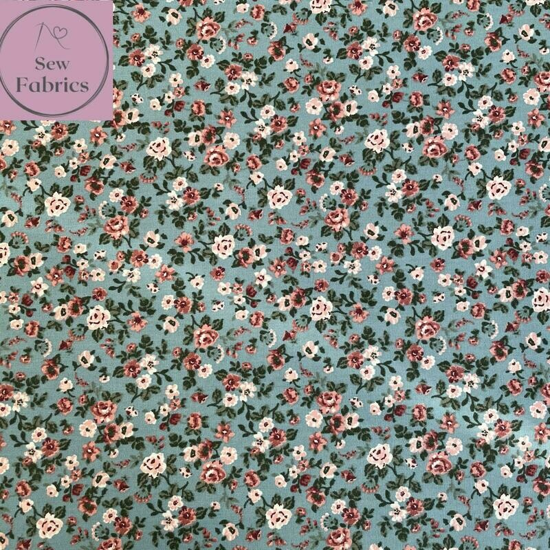 John Louden Aqua Blue Romantic Flowers Fabric 100% Cotton, 60