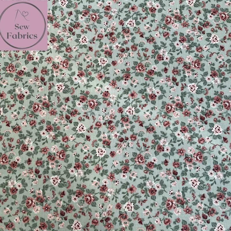 John Louden Mint Green Romantic Flowers Fabric 100% Cotton, 60
