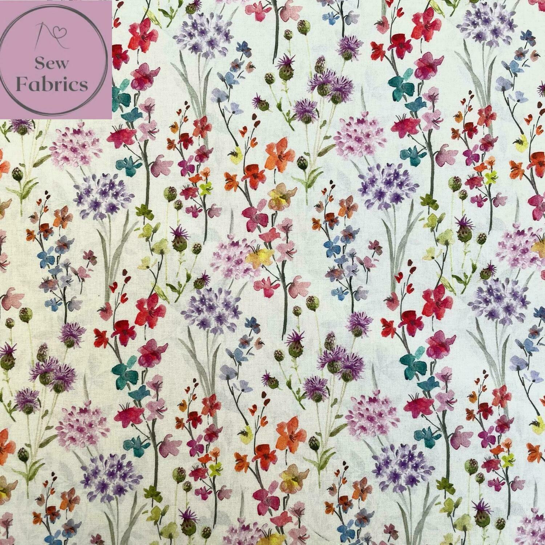 """John Louden Floral Bouquet Fabric 100% Cotton 60""""/150cm Width, Nature Material"""