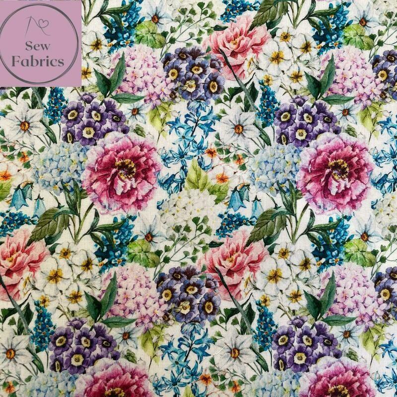 "John Louden Large Blooms Fabric 100% Cotton 60""/150cm Width, Floral Material"