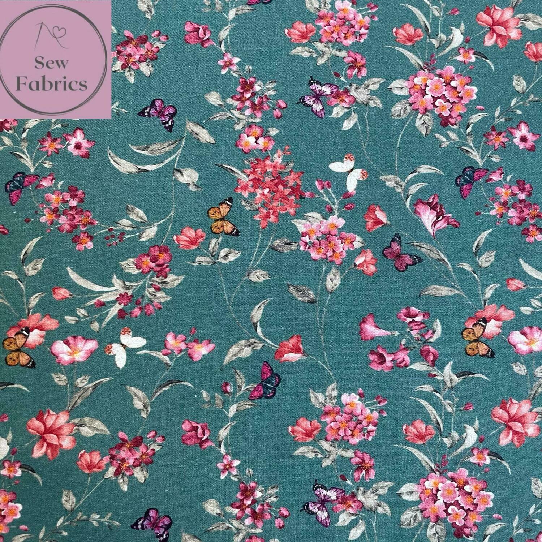 """John Louden Teal Floral Butterflies Fabric 100% Cotton 60""""/150cm Width, Green Material"""