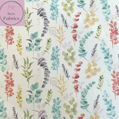 "John Louden Blue Eucalyptus Fabric 100% Cotton 60""/150cm Width, Nature Material"