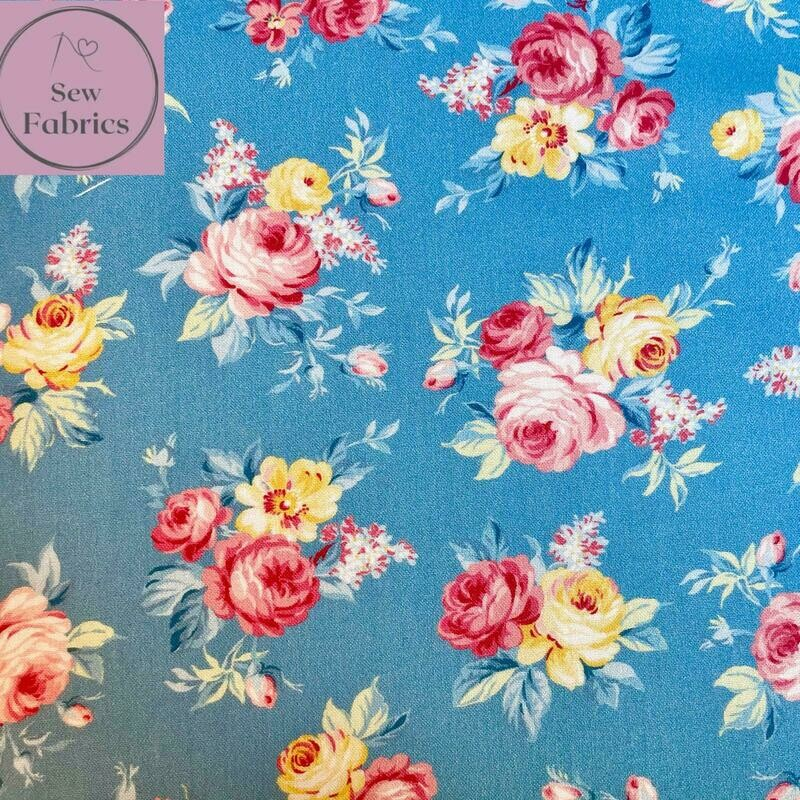 Michael Miller Country Cottage Collection - Locally Grown - Blue, 100% Cotton Fabric, Dressmaking, Quilting, Home Soft Furnishings Floral Material
