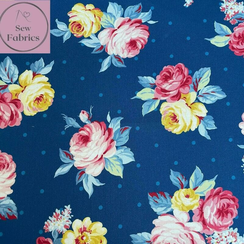 Michael Miller Country Cottage Collection - Local Blooms - Blue, 100% Cotton Fabric, Dressmaking, Quilting, Home Soft Furnishings Floral Material