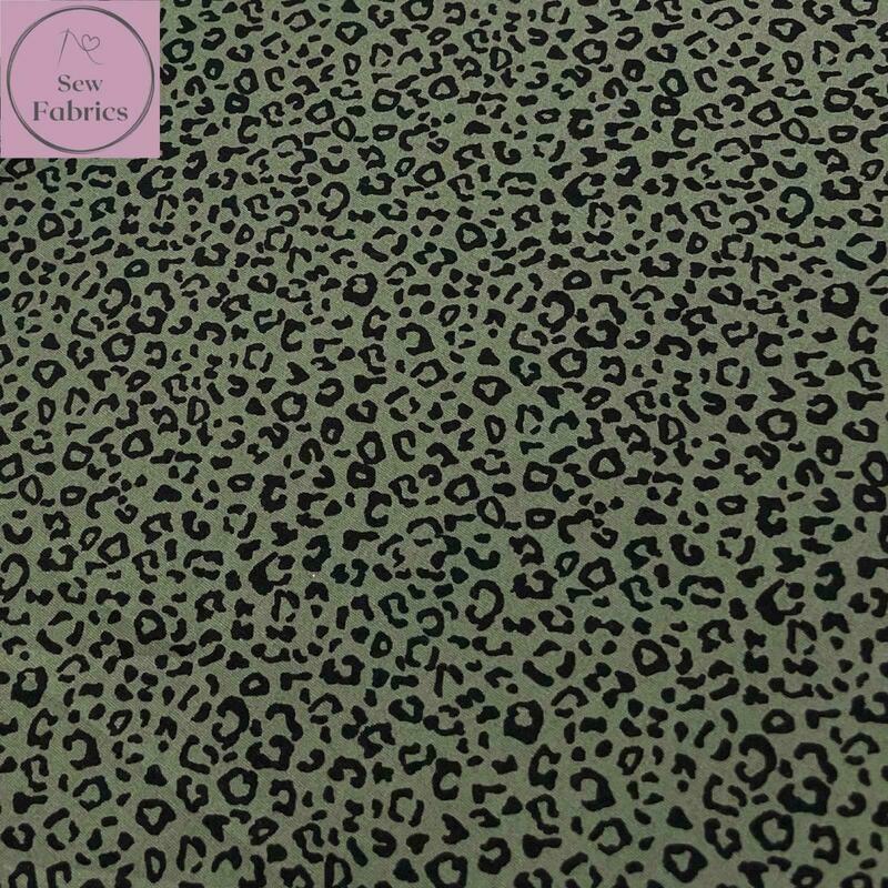 Rose & Hubble Khaki Green Leopard Print 100% Cotton Poplin Fabric, Animal Print Material