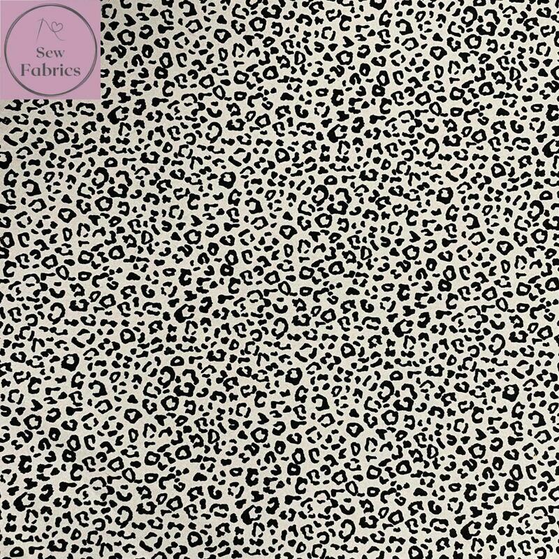 Rose & Hubble Grey Leopard Print 100% Cotton Poplin Fabric, Animal Print Material