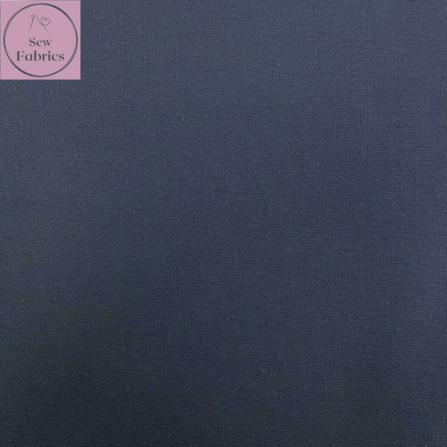 Navy Blue Ponte Roma Solid Jersey Fabric