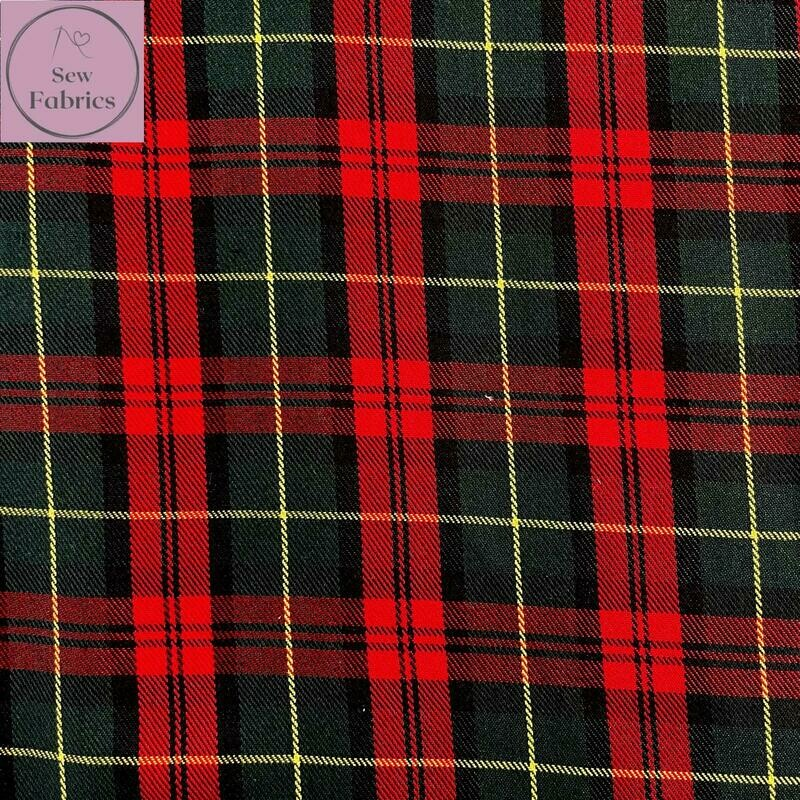 Margaret Rose Tartan Fabric, Polyester/Viscose Red Material