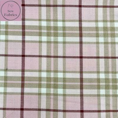 Pink Beige Tartan Fabric, Polyester/Viscose Pink Material