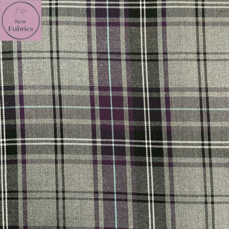 Purple Tartan Fabric, Polyester/Viscose Material