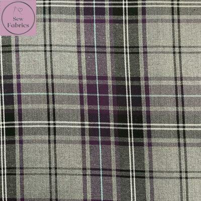 Purple Tartan Fabric, Polyester/Viscose Material