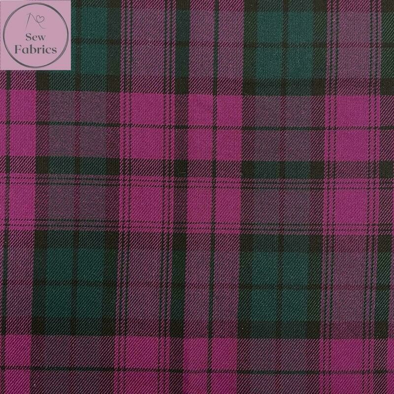 Lindsay Tartan Fabric, Polyester/Viscose Pink Material