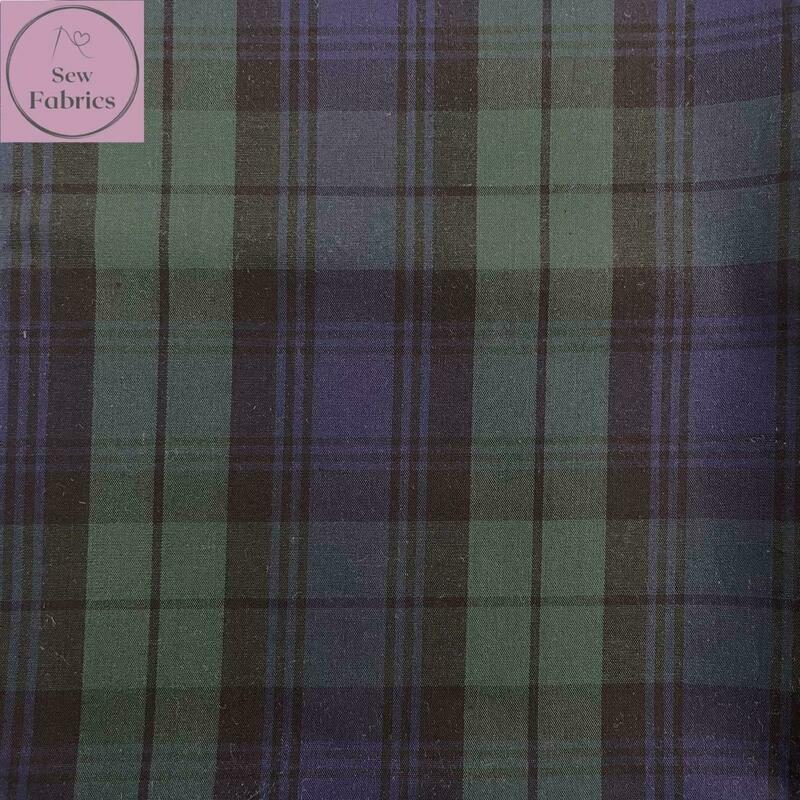 Blackwatch Tartan 100% Cotton Fabric, Blue Green Material