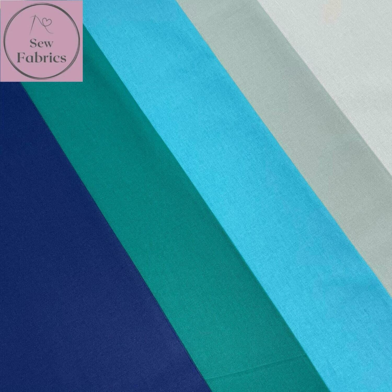 100% Craft Cotton Fabric Solid Blue 5 Piece Fat Quarter Bundle, Duck egg, Pale Blue, Turquoise, Teal, Navy