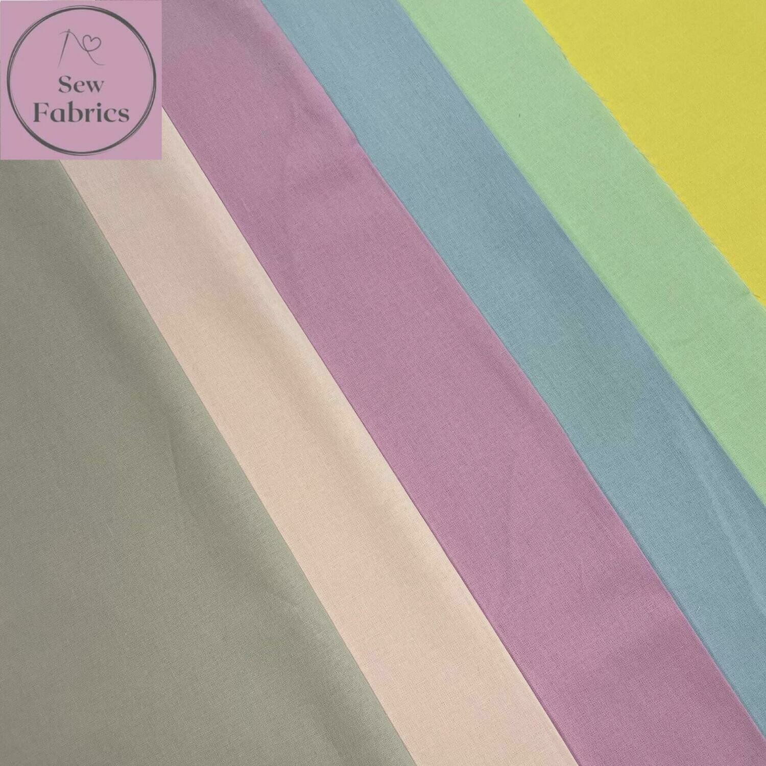 100% Craft Cotton Fabric Solid 6 Piece Fat Quarter Bundle, Pastel, Rainbow, Pink, Lilac, Blue, Green, Yellow, Grey