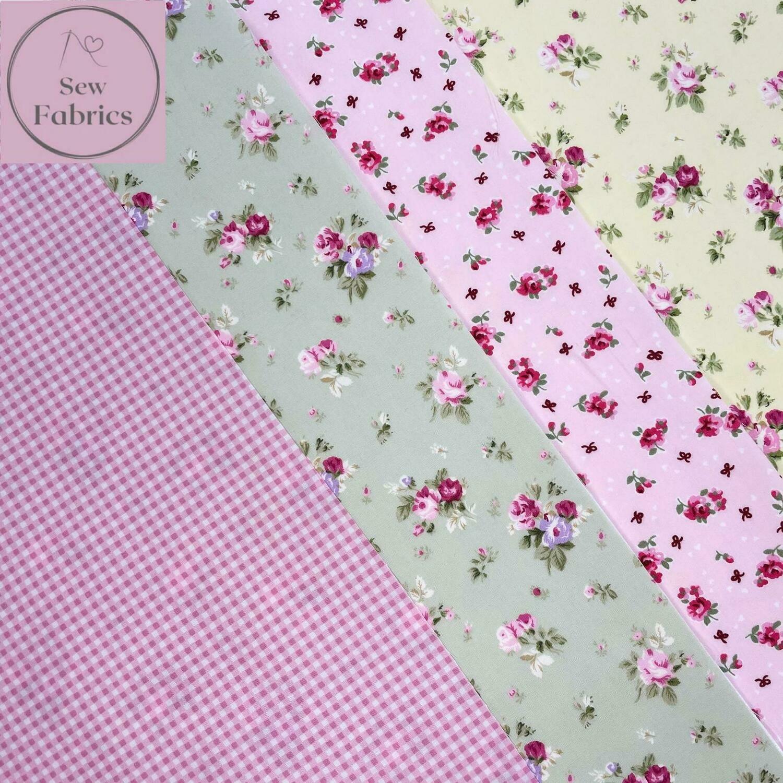 100% Cotton Poplin Floral Design 4 x Fat Quarter Bundle, Spring Summer Quilting, Crafting, Flower Material