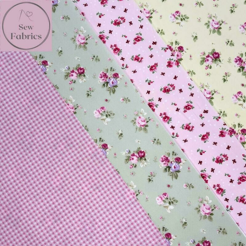 100% Cotton Poplin Floral Design 4 x Fat Quarter Bundle, Spring Summer Quilting, Crafting, Flower Material