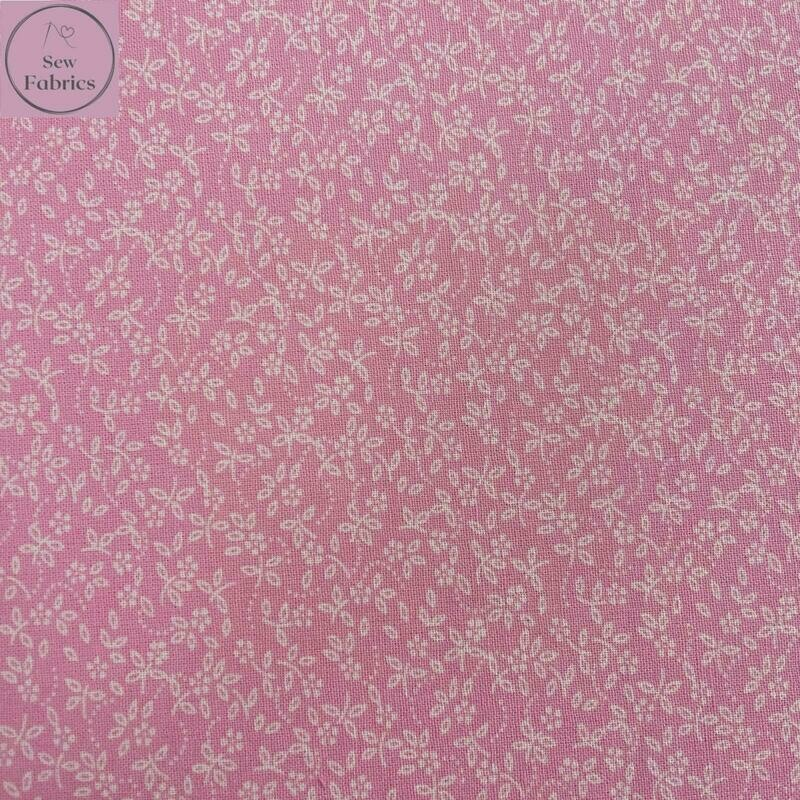 Candy Pink 100% Craft Cotton Ditsy Daisy Floral Fabric, Suitable for Craft, Quilting & Sewing Projects.