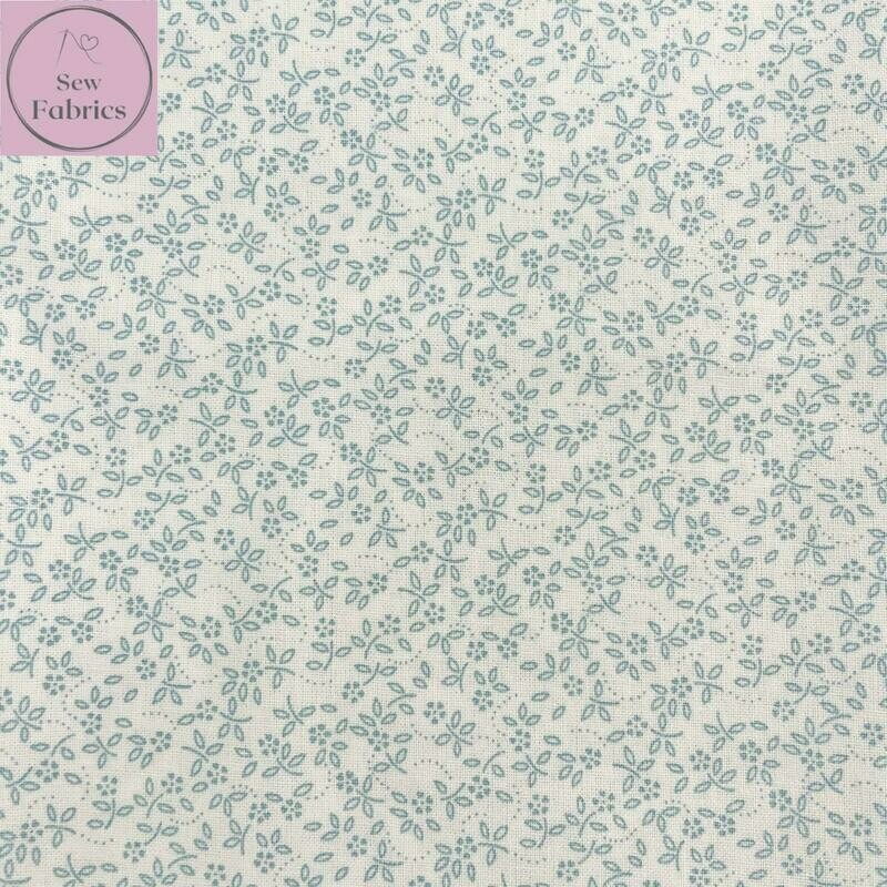 Duck Egg on Ivory Background 100% Craft Cotton Ditsy Daisy Fabric