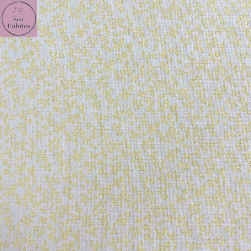 Lemon on Ivory Background 100% Cotton Ditsy Daisy Fabric
