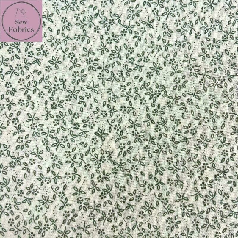 Sage Fern Green on Ivory Background, 100% Craft Cotton Ditsy Daisy Fabric