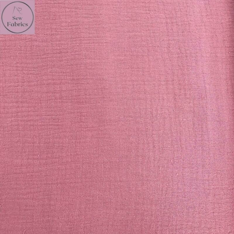 Baby Pink Double Gauze Solid Fabric, 100% Cotton Material
