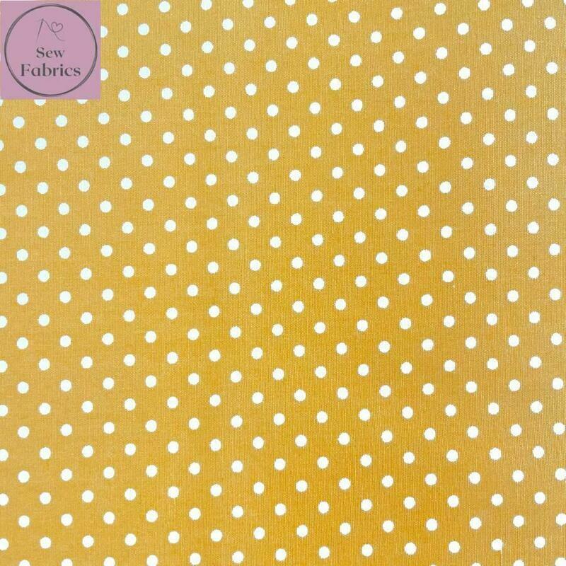 Rose and Hubble Yellow Polka Dot Fabric 100% Cotton Poplin Spot Geometric Material
