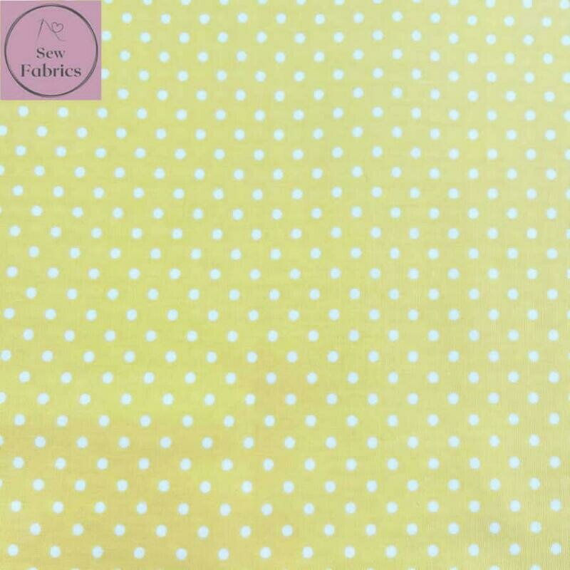 Rose and Hubble Lemon Yellow Polka Dot Fabric 100% Cotton Poplin Spot Geometric Material