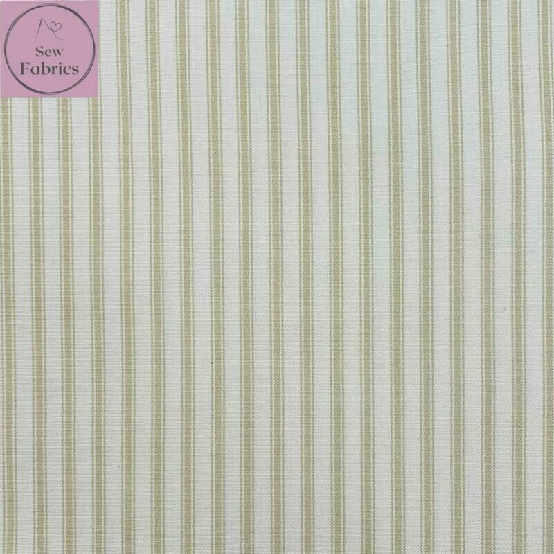 Rose and Hubble Tan Stripe Fabric 100% Cotton Poplin Beige Cream Geometric Material