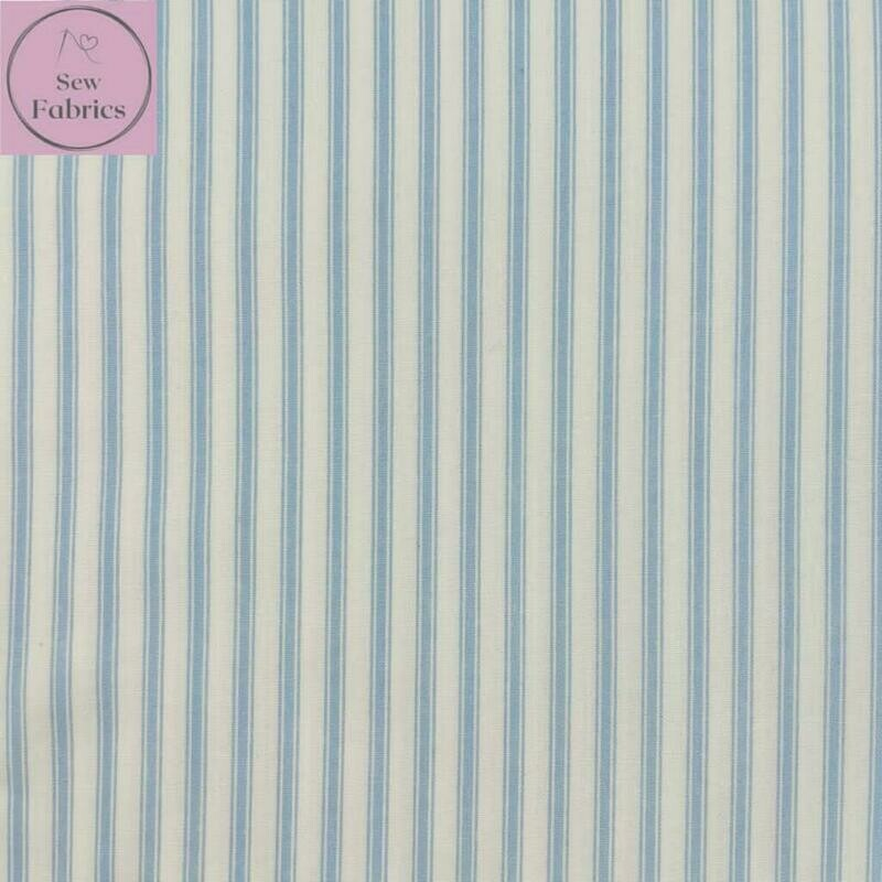 Rose and Hubble Light Blue Stripe Fabric 100% Cotton Poplin Geometric