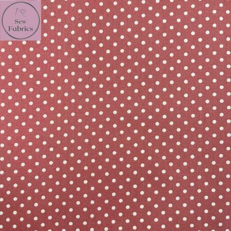 Rose and Hubble Pink Polka Dot Fabric 100% Cotton Poplin Spot Geometric Material