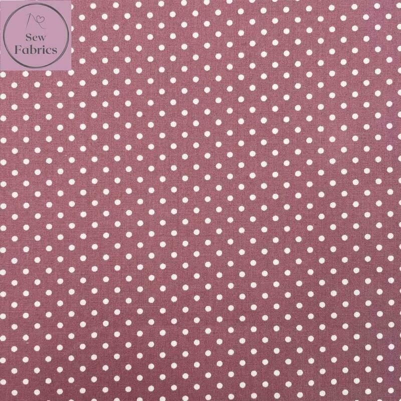 Rose and Hubble Rose Pink Polka Dot Fabric 100% Cotton Poplin Spot Geometric Material