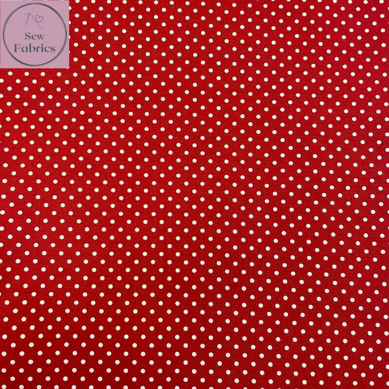 Rose and Hubble Bright Red Polka Dot Fabric 100% Cotton Poplin Spot Geometric Material