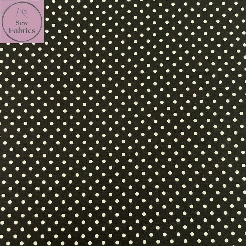 Rose and Hubble Black Polka Dot Fabric 100% Cotton Poplin Spot Geometric Material