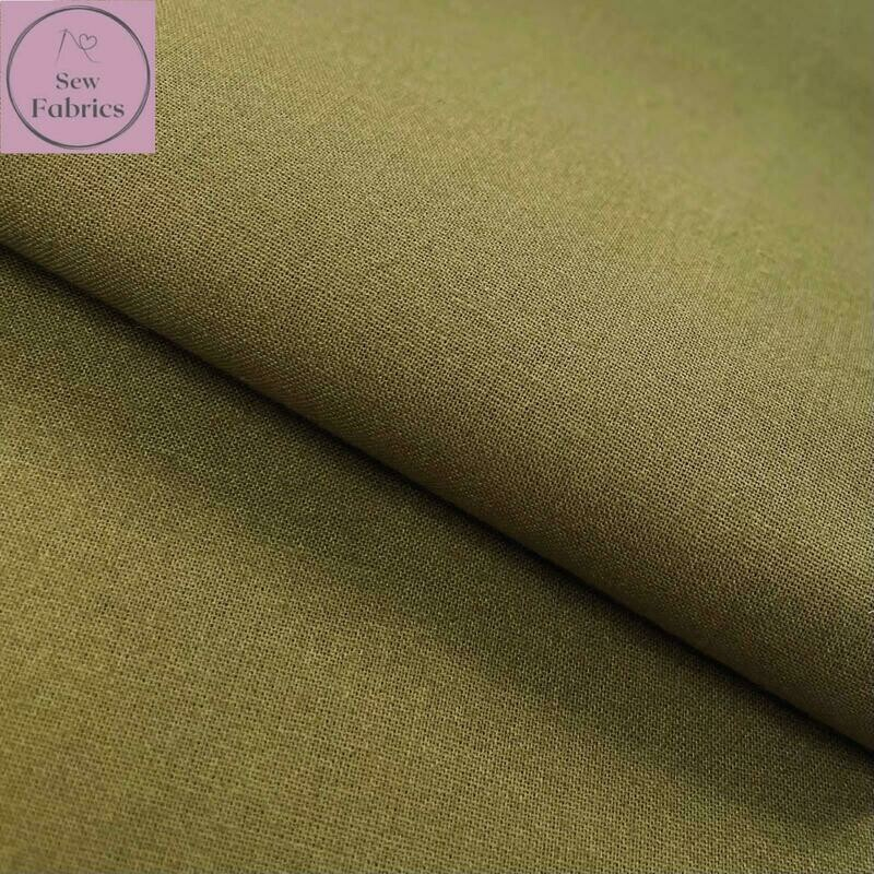 Moss Green 100% Craft Cotton Solid Fabric Plain Material