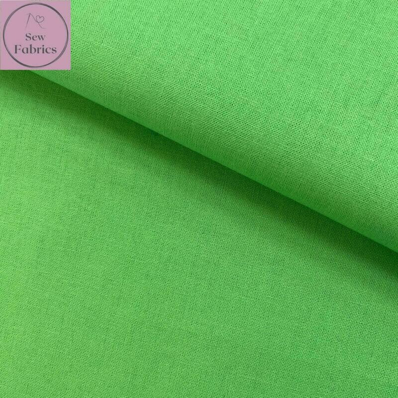 Rose and Hubble Lime 100% Craft Cotton Solid Fabric Plain Green Material
