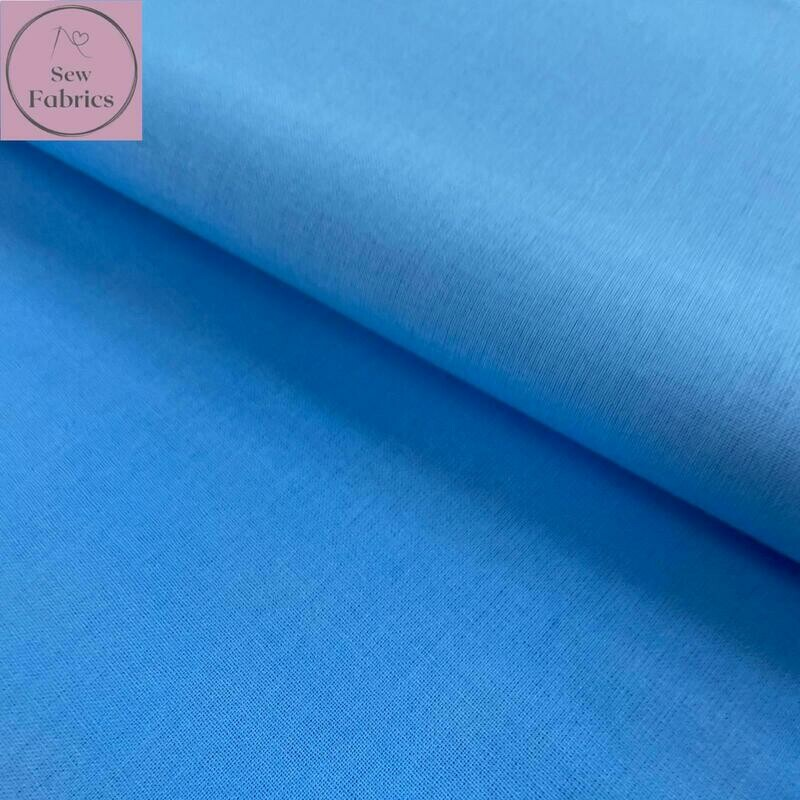 Cornflower Blue 100% Craft Cotton Solid Fabric Plain Material