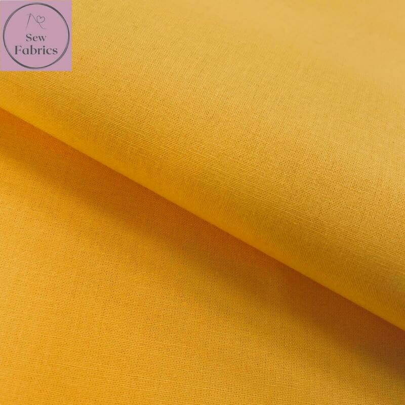 Gold 100% Craft Cotton Solid Fabric Plain Yellow Material