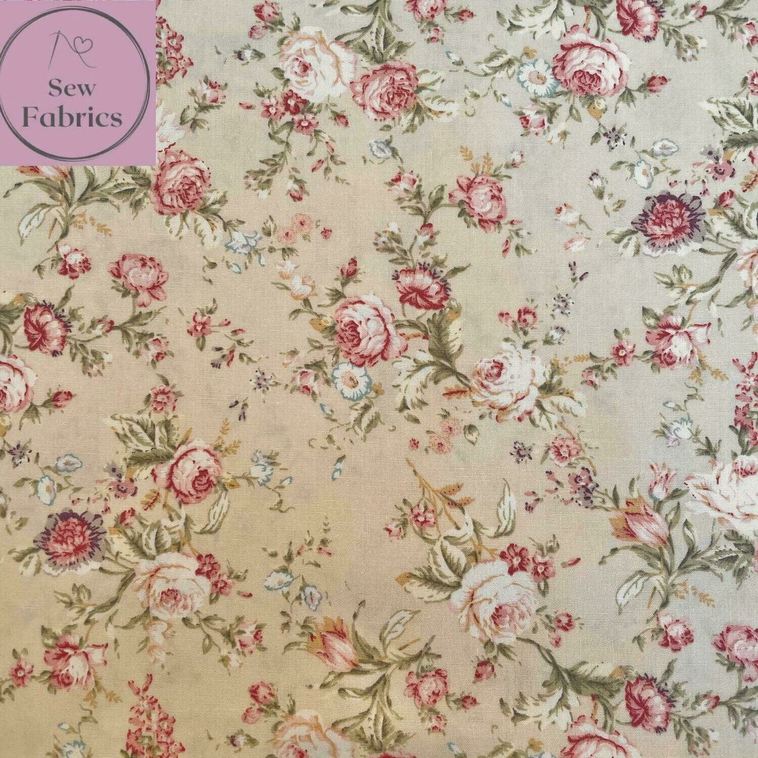 Rose and Hubble Ivory Fabric Cream Vintage Floral 100% Cotton Poplin Flower Material Sewing