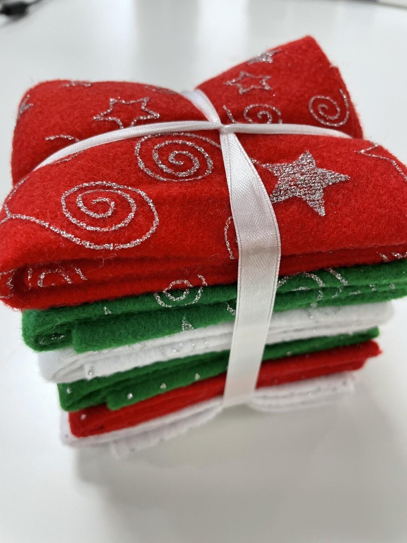 Glitter Felt Sheet Pack -6 Sheets, Assorted Colours, 30 x 23cm, Craft Felt
