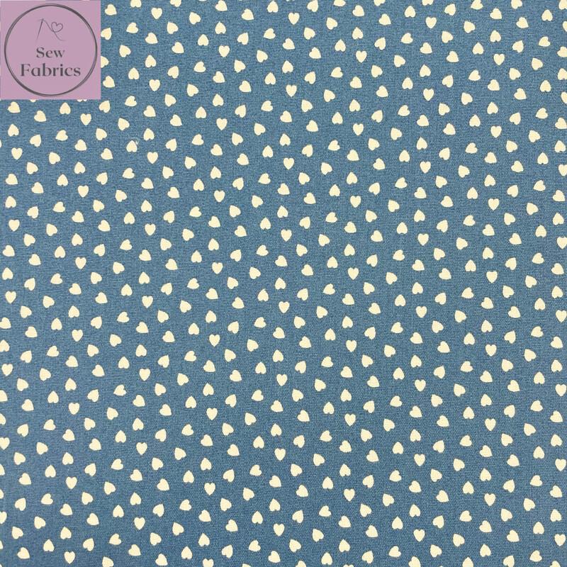 Pale Denim Blue Ditsy Heart Fabric 100% Cotton Poplin, 56