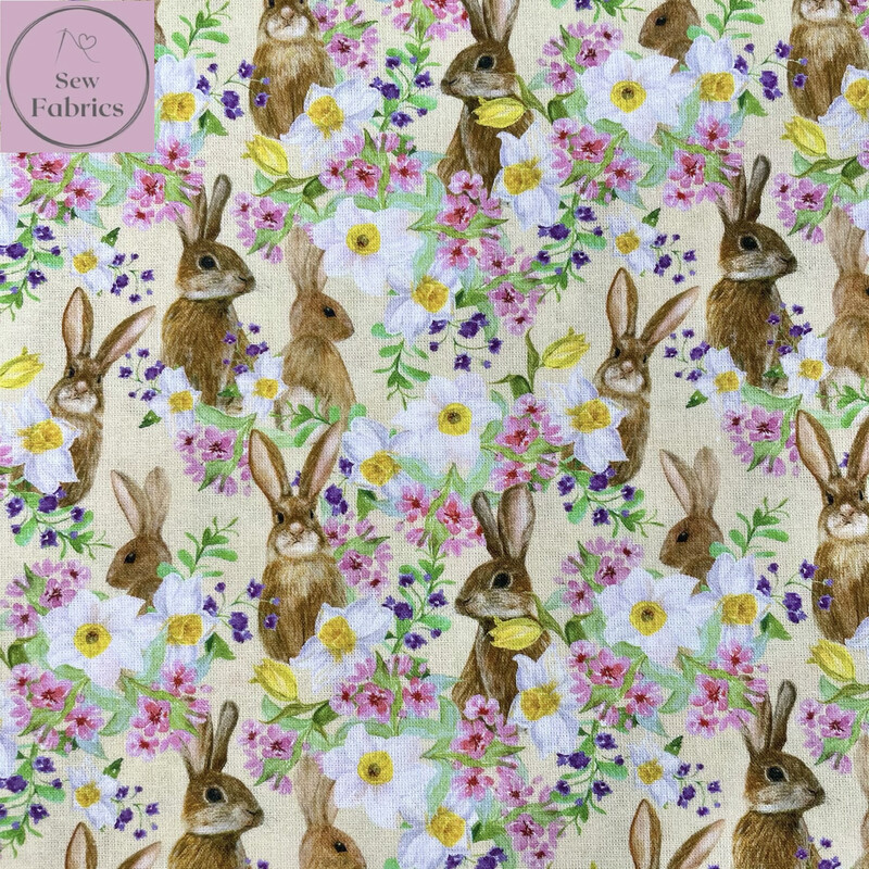 Bunnies And Flowers Design, The Little Johnny Collection Summer Easter Fabric 100% Cotton 59