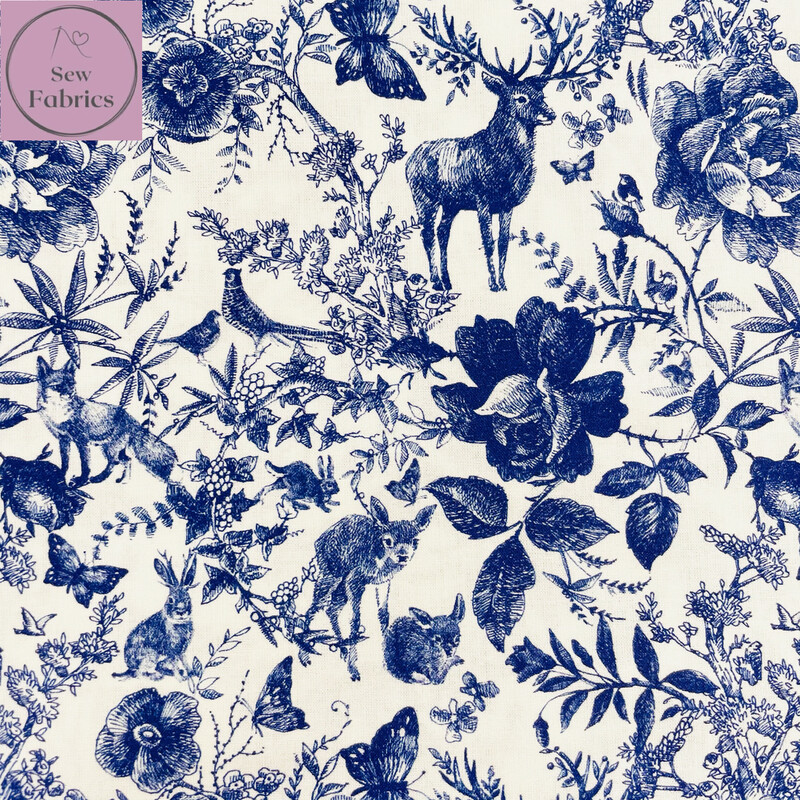 Blue Ink Forest Design, The Little Johnny Collection Summer Fabric 100% Cotton 59