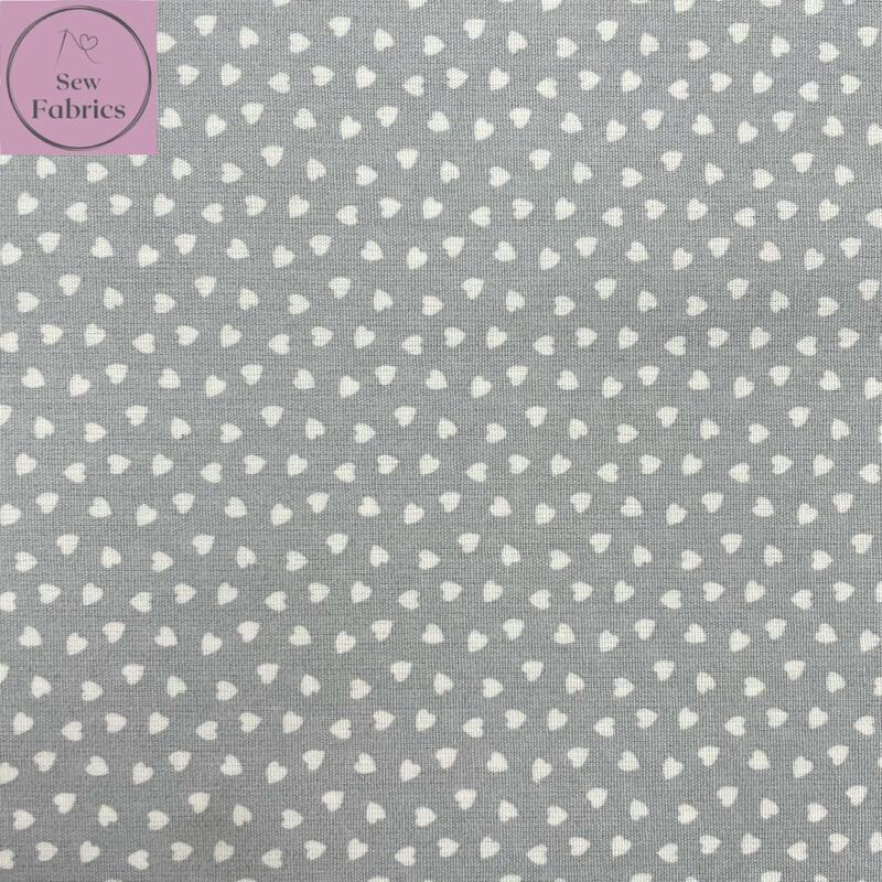 Silver Grey Ditsy Heart Fabric 100% Cotton Poplin, 56