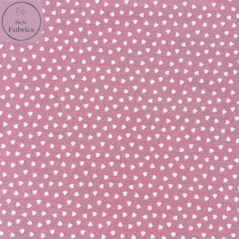 Dusky Pink Ditsy Heart Fabric 100% Cotton Poplin, 56