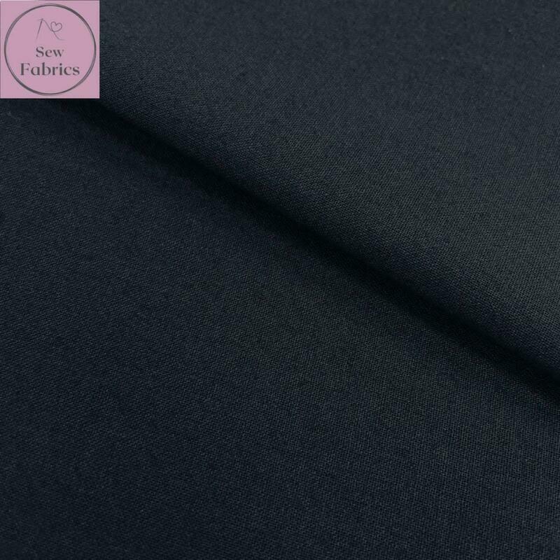 Black 100% Craft Cotton Solid Fabric Plain Black Material