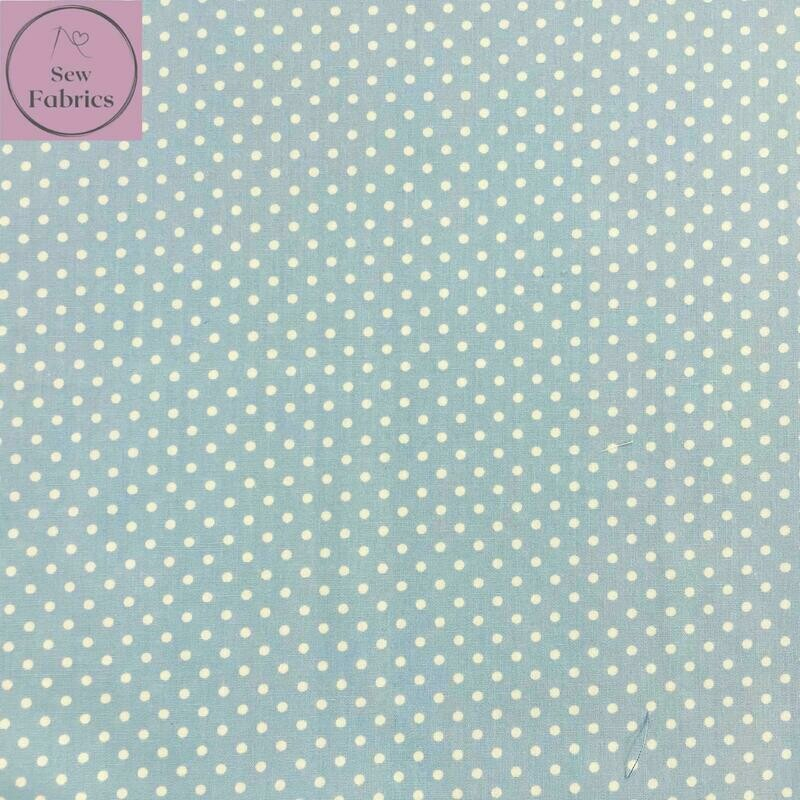 Rose and Hubble Powder Blue Polka Dot Fabric 100% Cotton Poplin Spot Geometric Material