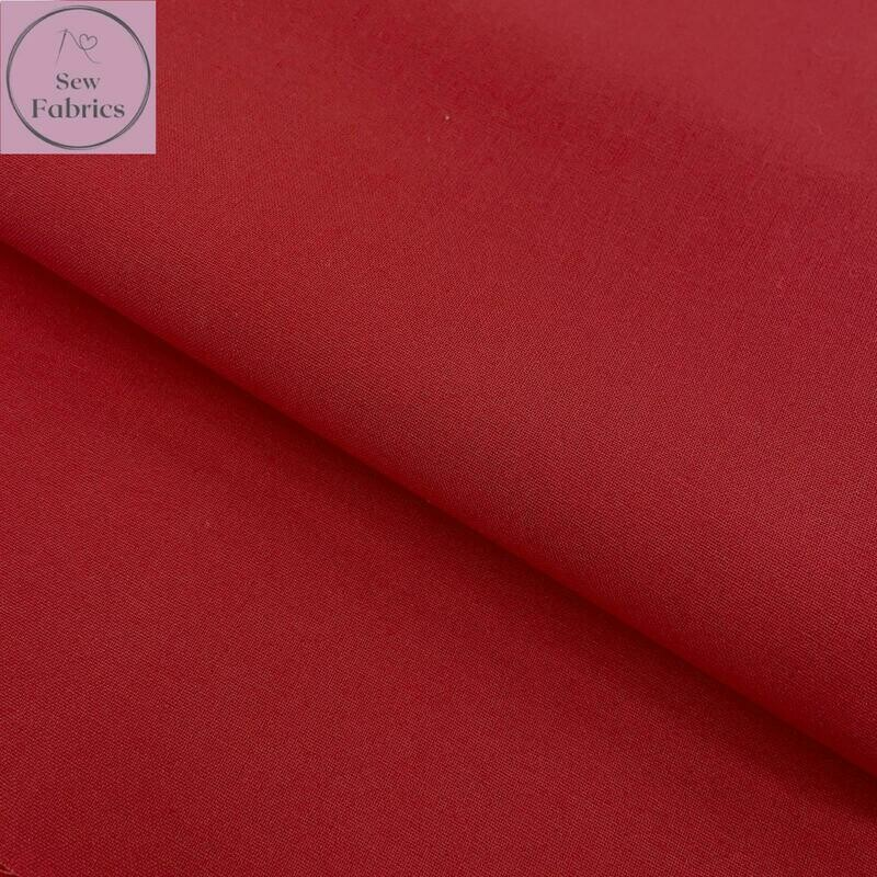 Red 100% Craft Cotton Solid Fabric Plain Material