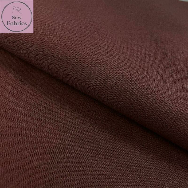 Chocolate Brown 100% Craft Cotton Solid Fabric Plain Material