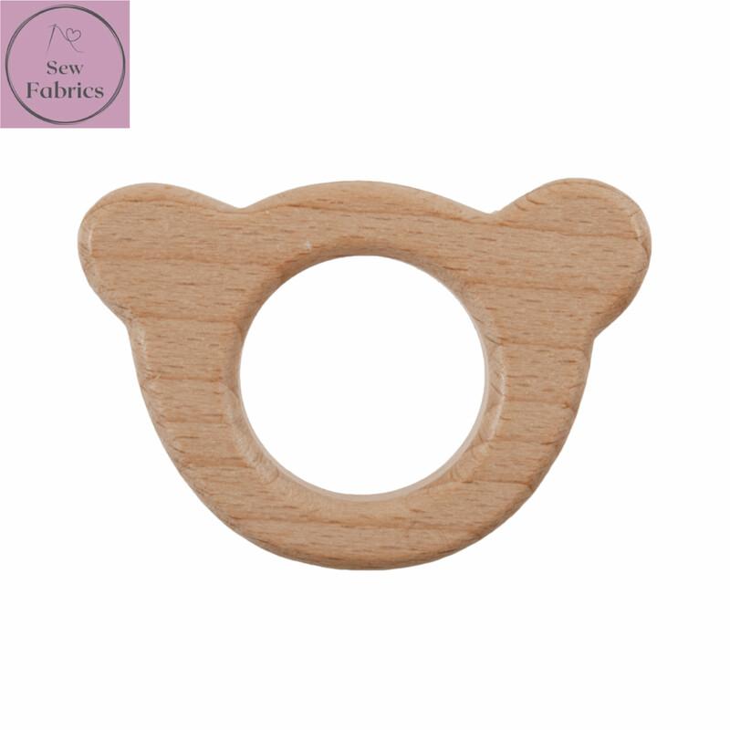 Premium Beech Wood Teddy Bear Craft Ring 4.5cm Diameter, for Macrame, Wall hanging, Crochet projects